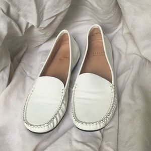 Stuart Weitzman White Patent Leather Loafers